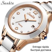 LIGE Brand Sunkta Women Watch 2020 Fashion Ladies Ceramic Wrist Watch