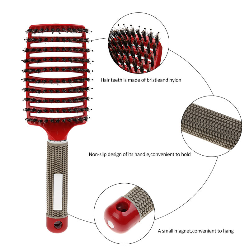 Hair Scalp Massage Comb Bristle Nylon Hairbrush Wet Curly Detangle Hair Brush for Salon Hairdressing Styling Tools