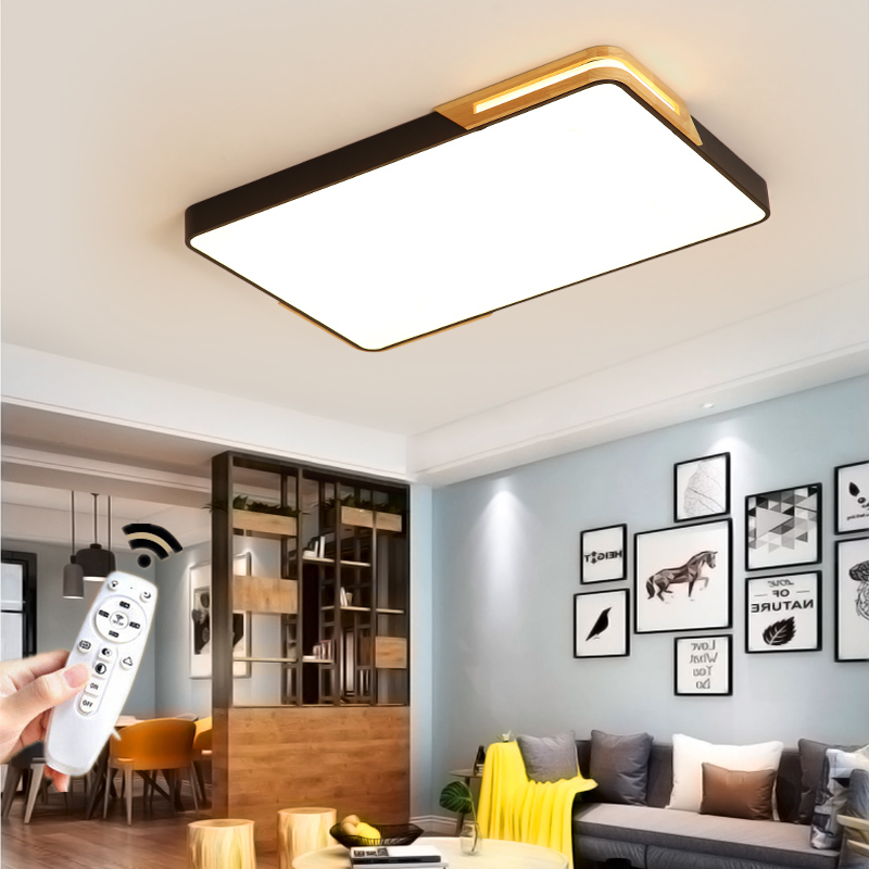 Nordic Modern Square Round Wooden Led Chandelier Ceiling Ligth Lamp With Remote Control For Living Room Loft Bedroom Black White