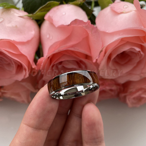 Image 5 - 8 Mm Koa Natuur Hout Inlay Tungsten Carbide Ring Voor Mannen Wedding Band Gepolijst Glanzend Comfort Fit