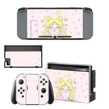 Anime sailor moon nintendo switch pele adesivo nintendoswitch adesivos skins para nintend switch console e joy con controlador