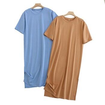 Tangada 2021 Women Elegant 95% Cotton Sweatshirt Dress Oversized Short Sleeve Side Open Ladies Midi Dress 6L60 5