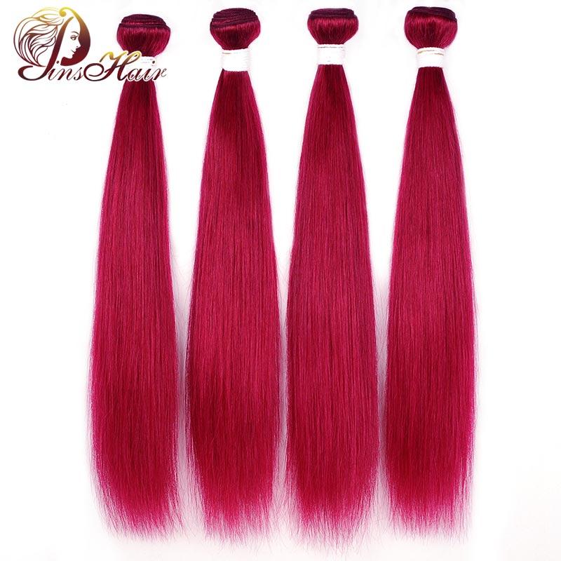 Brazilian Hair Weave Bundles Burgundy 99J Red Pre-Colored Straight Hair Bundles 100% Human Hair Pinshair 4 Bundles Nonremy Hair