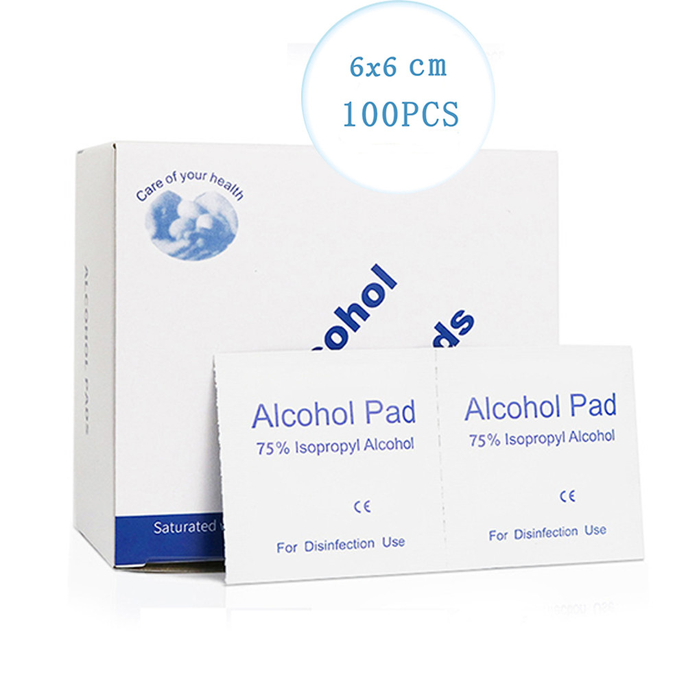 100pcs/lot 6*6cm Antibacterial Wipes Alcohol Pad Virus Protection 75% Aocohol Wet Wipe For Antiseptic Skin Cleaning Care Tools