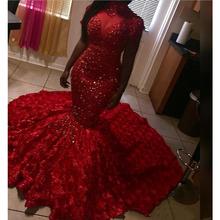 Czerwone suknie balowe 2020 Crystal frezowanie dopasowana długa suknie na bal maturalny wysoki kołnierz krótkie rękawy 3D Rose spódnica w kwiaty dziewczyny sukienka na konkurs piękności tanie tanio OEING Wysoka Pociąg sweep Długość podłogi Prom dresses Off the Shoulder Satyna Koronki Cekinami simple Naturalne 0001