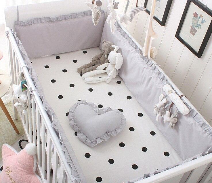 5 pcs cor solida cinza bebe cama para choques recem nascidos decoracao do quarto do bebe
