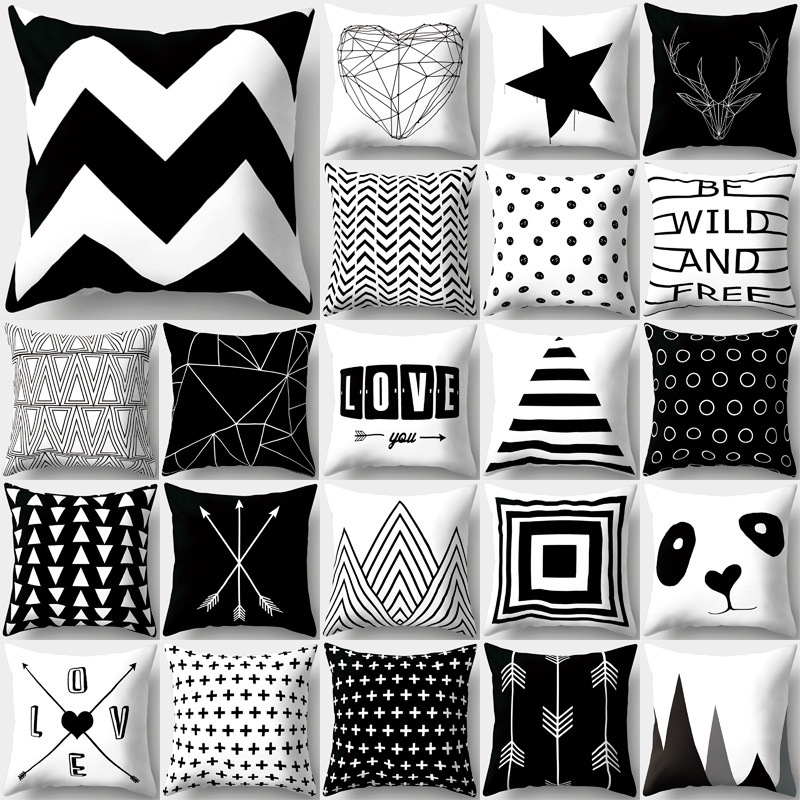 SUNBEAUTY Decorative Throw Pillow Covers Black And White Cushion Covers Classic 45x45cm Pillow Case Home Decor Sofa Living Room