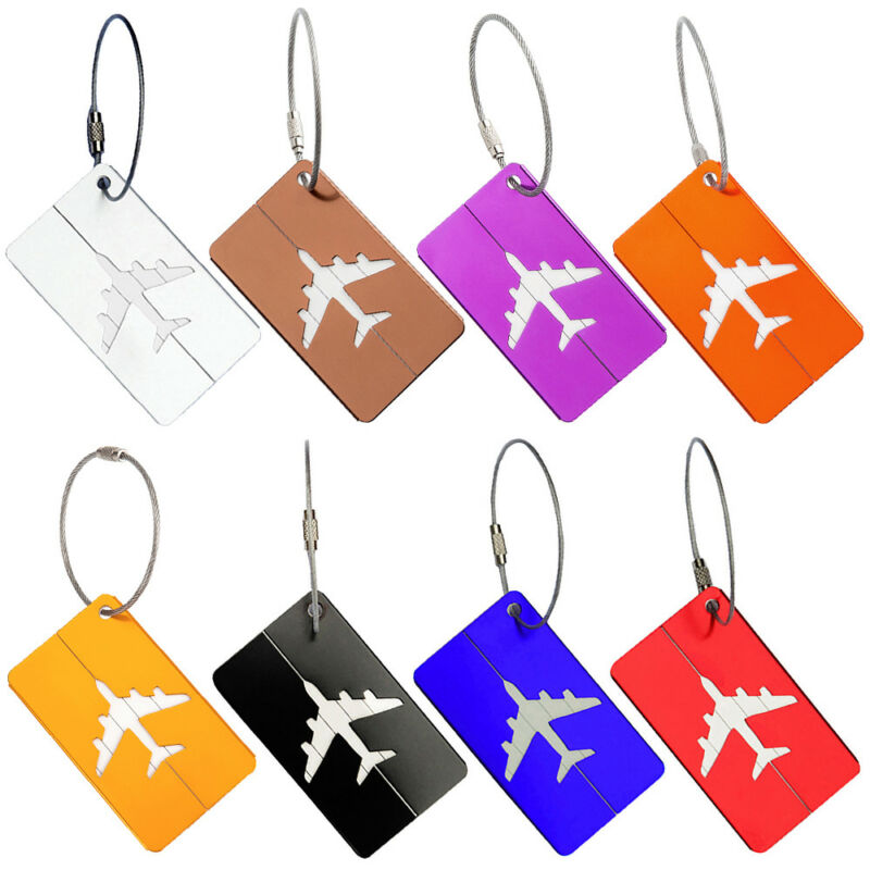 Travel Plane Aluminium Luggage Tags Suitcase Label Name Address ID Baggage Tag