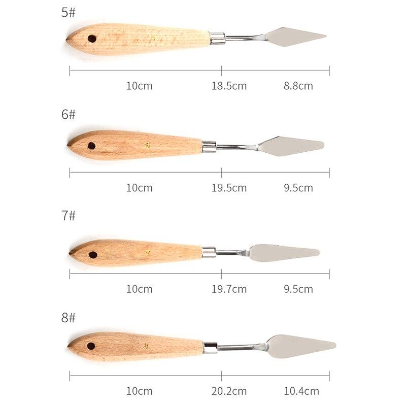 Nóż paletowy malowanie szpatułka ze stali nierdzewnej nóż paletowy farba olejna noże metalowe rękojeść z drewna h-best