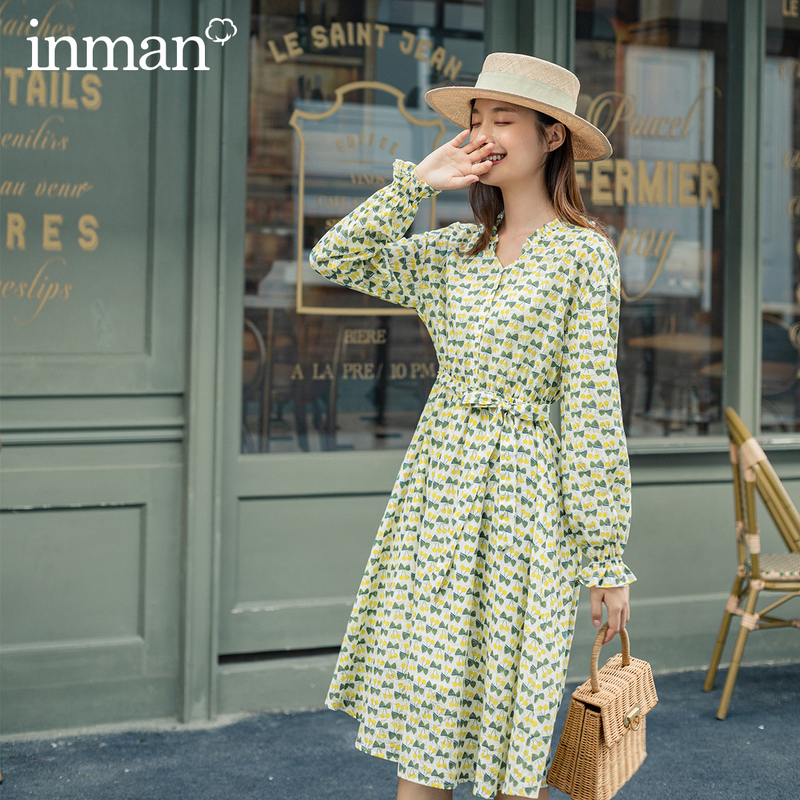 INMAN 2020 Autumn New Arrival Long Sleeve Print Fresh Retro Style Nipped Waist Bow Women Dress