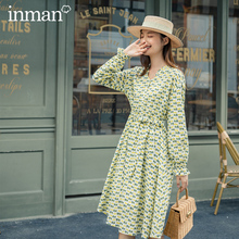 INMAN 2020 Autumn New Arrival Long Sleeve Print Fresh Retro Style Nipped Waist Bow Women