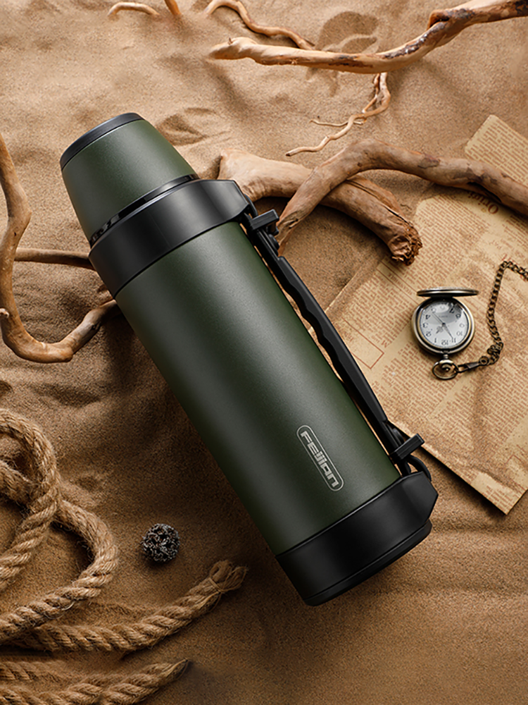 Portable Cup-Mugs Water-Bottle Military-Thermos Stainless-Steel Travel Large For Coffee