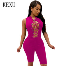 KEXU Sexy Hollow Out Bodycon Bandage Playsuits Bodysuits Overalls Summer Sleeveless Lace Up Short Rompers Femme Jumpsuits