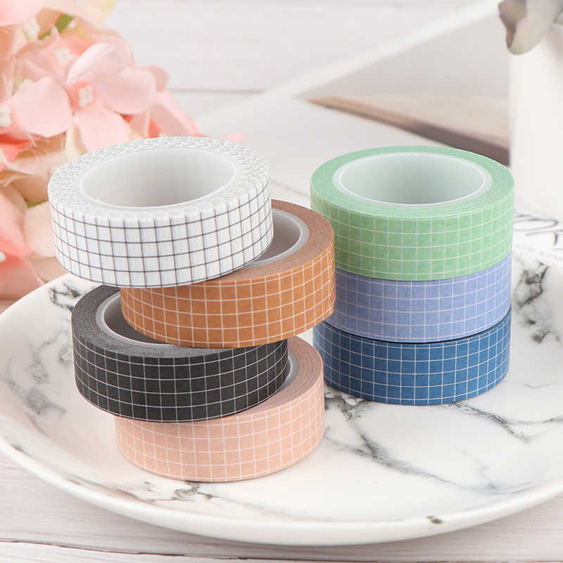 Kleurrijke Rooster Washi Tape Japanse Papier Diy Planner Masking Tape Plakband Stickers Briefpapier Tapes Decoratieve