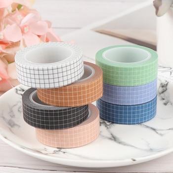 Kolorowa siatka taśma Washi japoński papier DIY Planner taśma maskująca taśma klejąca naklejki taśmy papiernicze dekoracyjne
