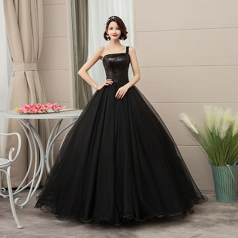 Es YiiYa vestido De novia brillante lentejuelas negro novia vestidos De baile De Boda sin tirantes talla grande vestido largo hasta el suelo De Mariee CH204 - 4