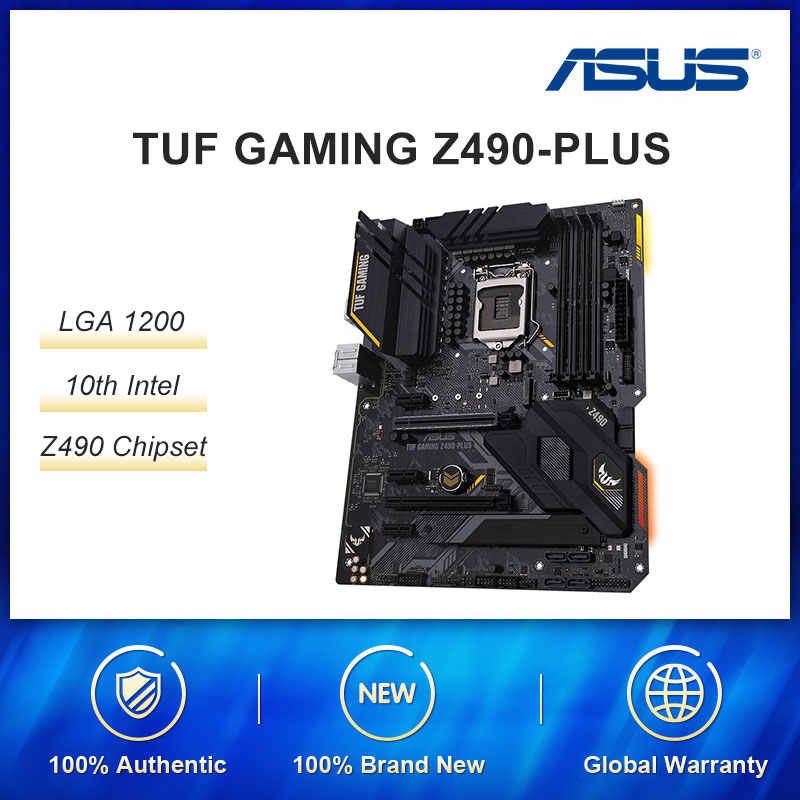 ASUS TUF oyun Z490-PLUS LGA 1200 (Intel 10th Gen) Intel Z490 (WiFi 6) SATA 6gb/sn ATX Intel anakart (çift M.2, 12 + 2