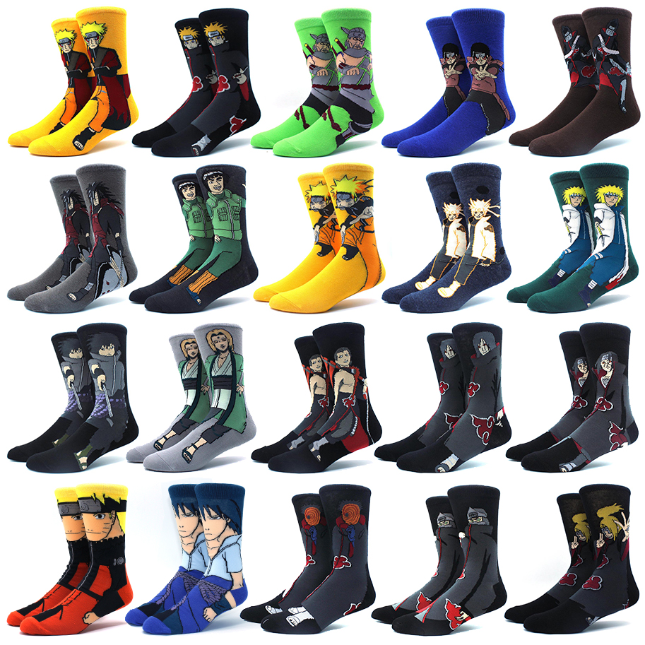 Носки мужские/женские хлопковые с аниме принтом, модные удобные Смешные Мультяшные удобные цветные носки с прострочкой Наруто, персонализи...