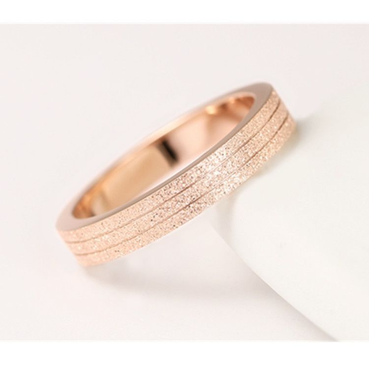 KNOCK  Top Quality Rose Gold Color Frosted Ring for Woman Girl Gift  316 L Stainless Steel Ring Never Fade  Jewelry 3