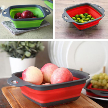 Foldable Fruit Vegetable Washing Basket Strainer Portabl Silicone Colander Collapsible Drainer With Handle Kitchen Tools 2