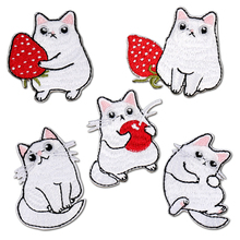 Cute Cat Patch for Clothing Iron on Applique Small Clothes Embroidery Cartoon Sticker Children Patches White Hole Repair