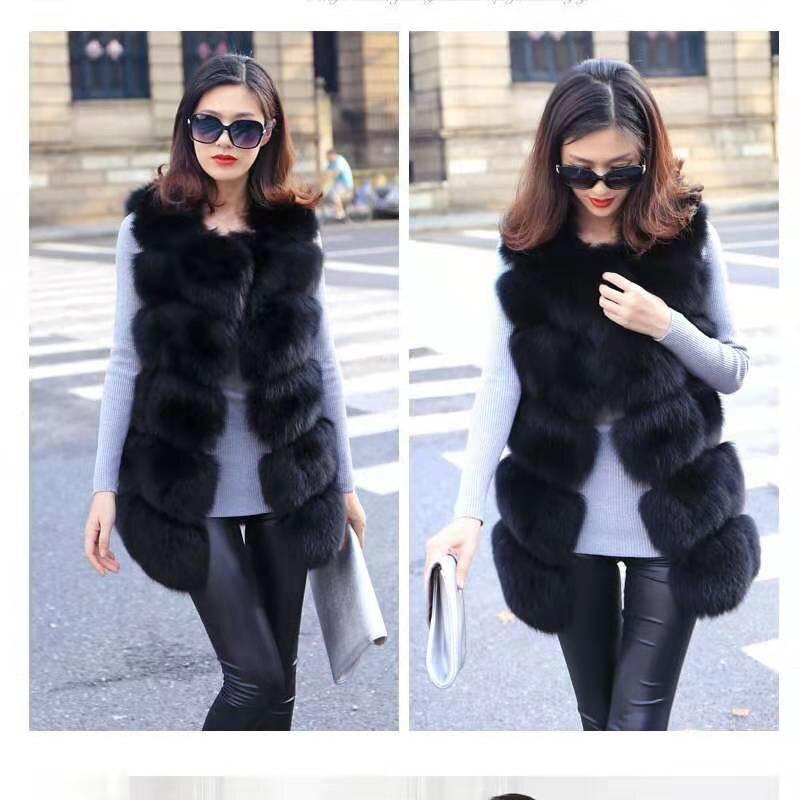 Women's Natural Fox Fur Vest Square Leather Fur Shoulder Real Fox Fur Jacket Winter Warm Fashion European Street Style