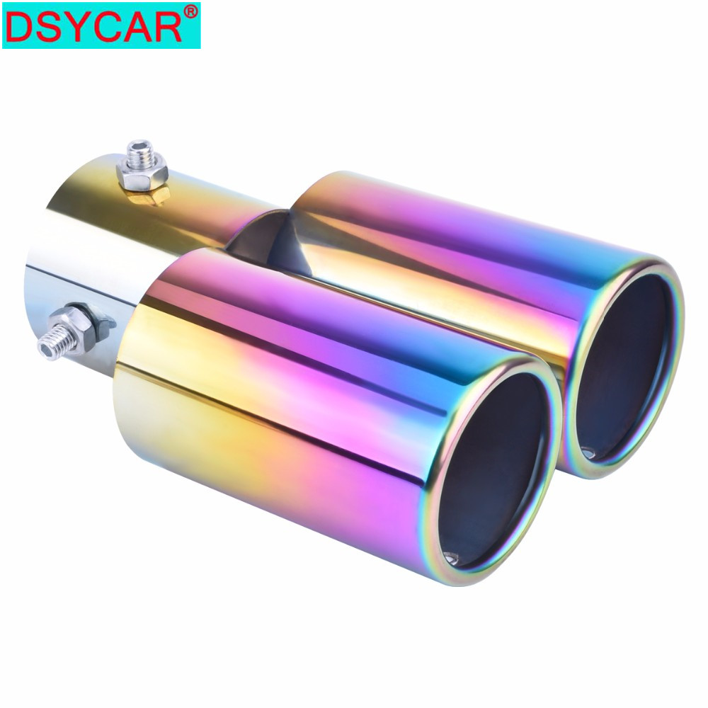"""2.5/"""" Stainless Steel 1to2 Dual Straight Pipe Car Exhaust Pipe Muffler Tip Covers"""