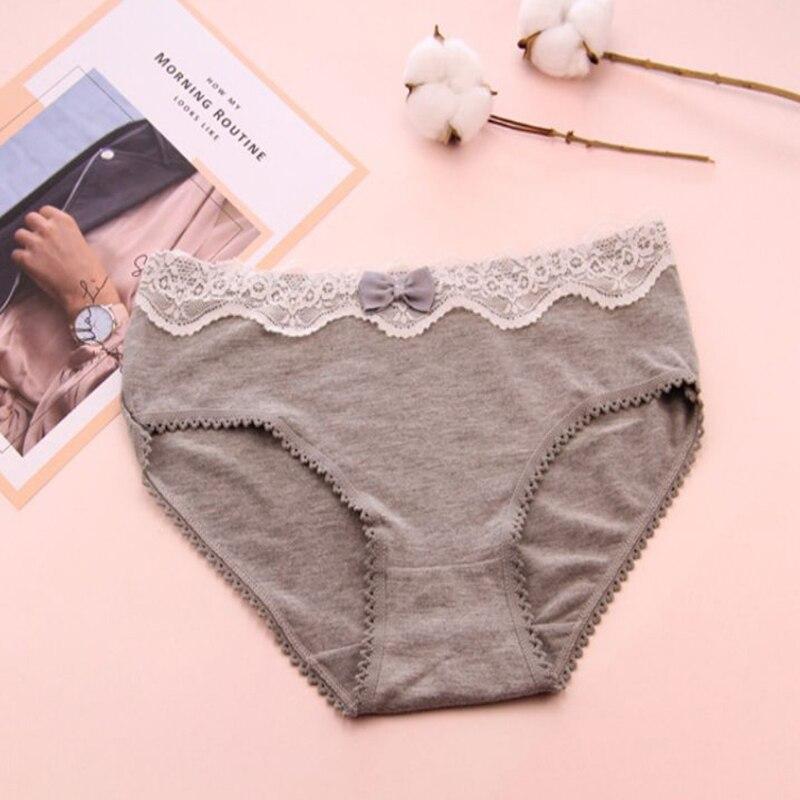 Cotton Women Panties Lace Patchwork Solid Color Low-Waist Briefs Lingerie Sexy Fashion Bow Panties