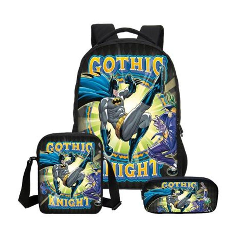 3pcs Batman Bat Man Hero Boys Girls School Bag Shoulder Bag Backpack Pencil Case Children Students Mochila Back To School Gift