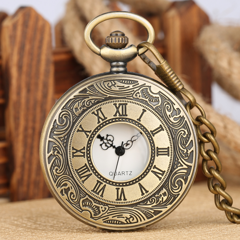 Vintage Bronze/Silver/Black/Gold Quartz Pocket Watch Roman Number Hollow Case Steampunk 30CM Chain Pendant Watches Dropshipping