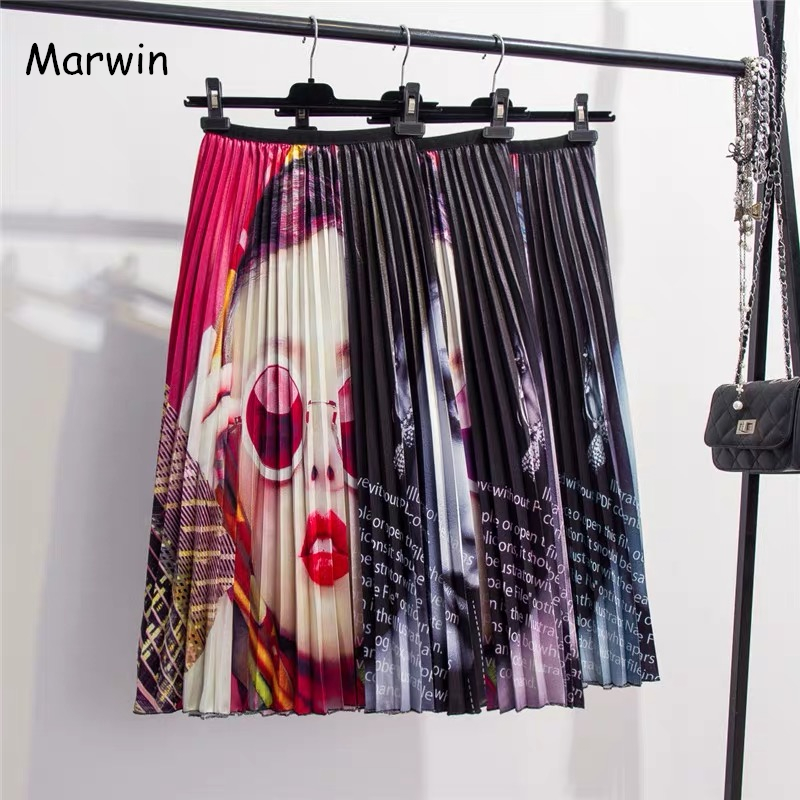 Marwin 2019 Spring Summer New-Coming Europen Printing Patchwork Pattern High Elasticity Pleated High Street Style Women Skirts