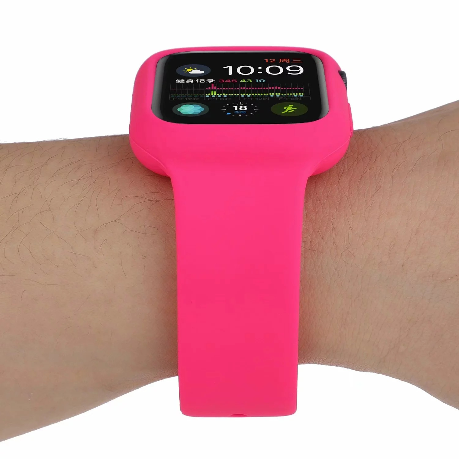 Suitable For Apple Watch Silicone Strap IWatch One-piece Silicone Watch Strap With Protective Case Wrist Strap