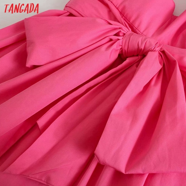 Tangada Women Pink Cotton Dress Back Bow Sleeveless Backless 2021 Summer Fashion Lady Dresses 3H130 4