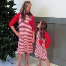 Рождественское платье в полоску с длинными рукавами для мамы