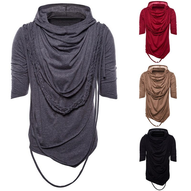 Hemkis Fashion Men Asymmetrical Overlap Cardigan Casual Knitted Long Sleeve Sweaters Shawl Collar Open Front Tops Men's Sweaters