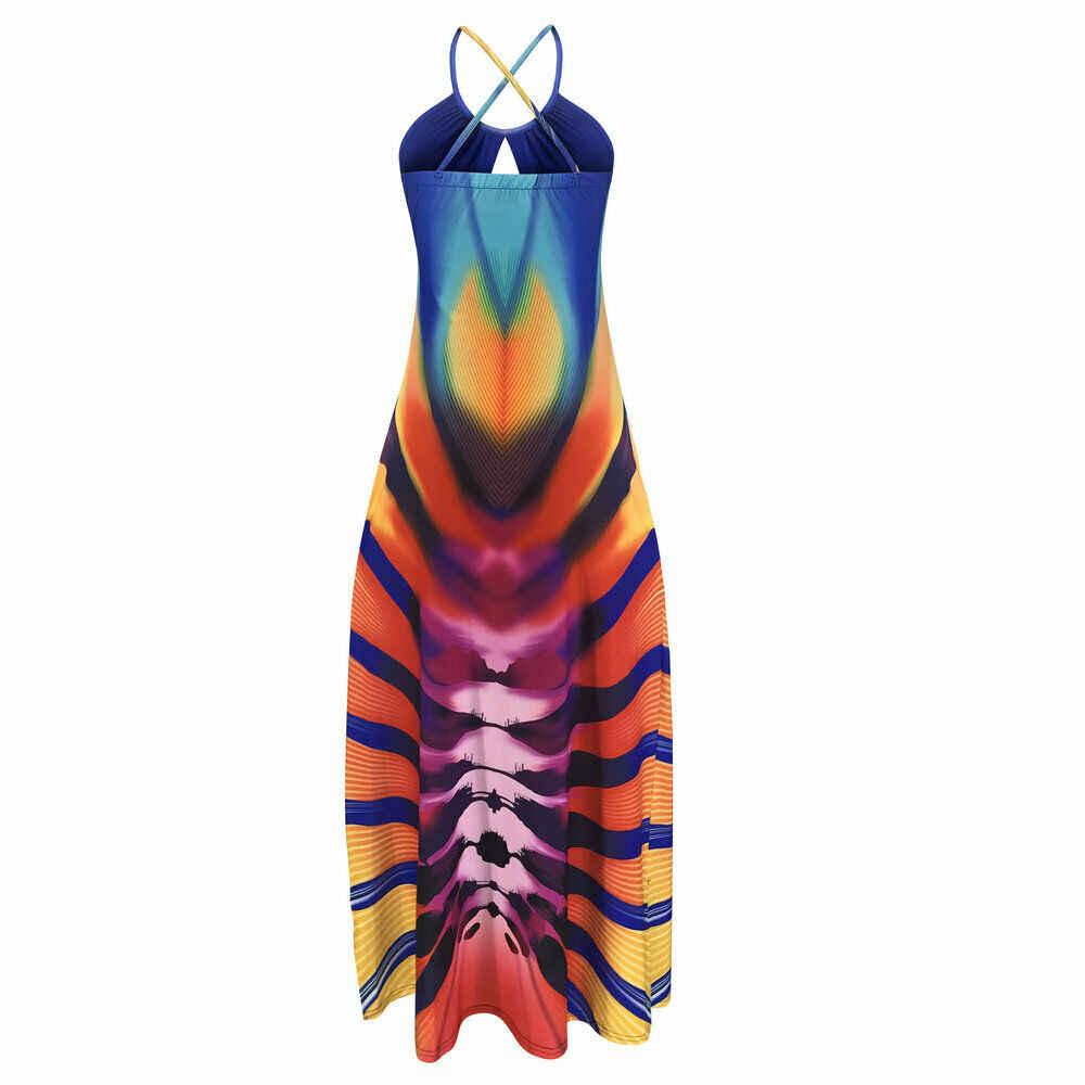 2019 новые тенденции моды Для женщин леди летнее, длинное, макси платье Вечеринка пляжного отдыха со старинными цветными уникальный платья Открытое платье без рукавов