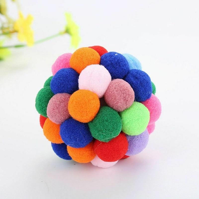 Dropship Pet Cat Ball Toy Colorful Handmade Bells Bouncy Balls Catnip Interactive Toy Pet Cat Supplies