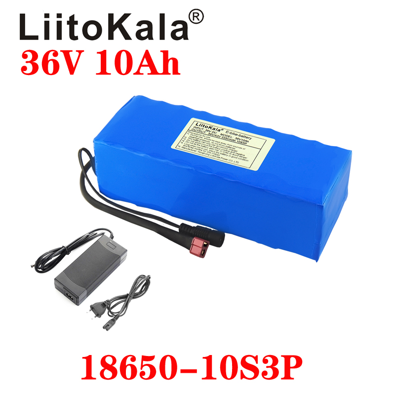 Liitokala 36 v 10ah 10s3p 18650 bateria recarregável, bicicletas modificadas, carregador de bateria do veículo elétrico li-lon + 36 v 2a