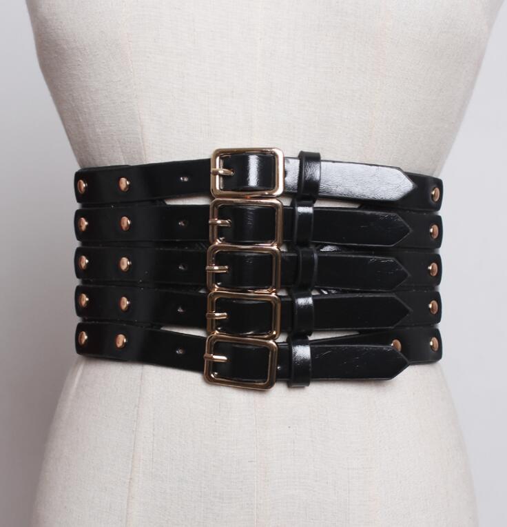 Women's Runway Fashion Rivet Pu Leather Punk Cummerbunds Female Dress Corsets Waistband Belts Decoration Wide Belt R1826