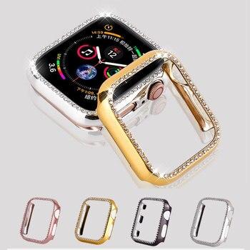 Étui de protection en cristal pour apple watch protéger écran série 4 3 2 diamant PC boîtier 38 42 40mm 44mm pour iwatch housse femmes