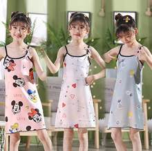 Menina verão vestido de noite arco suspender cetim macio confortável legal vestido criança pijamas bebê crianças filha pijamas