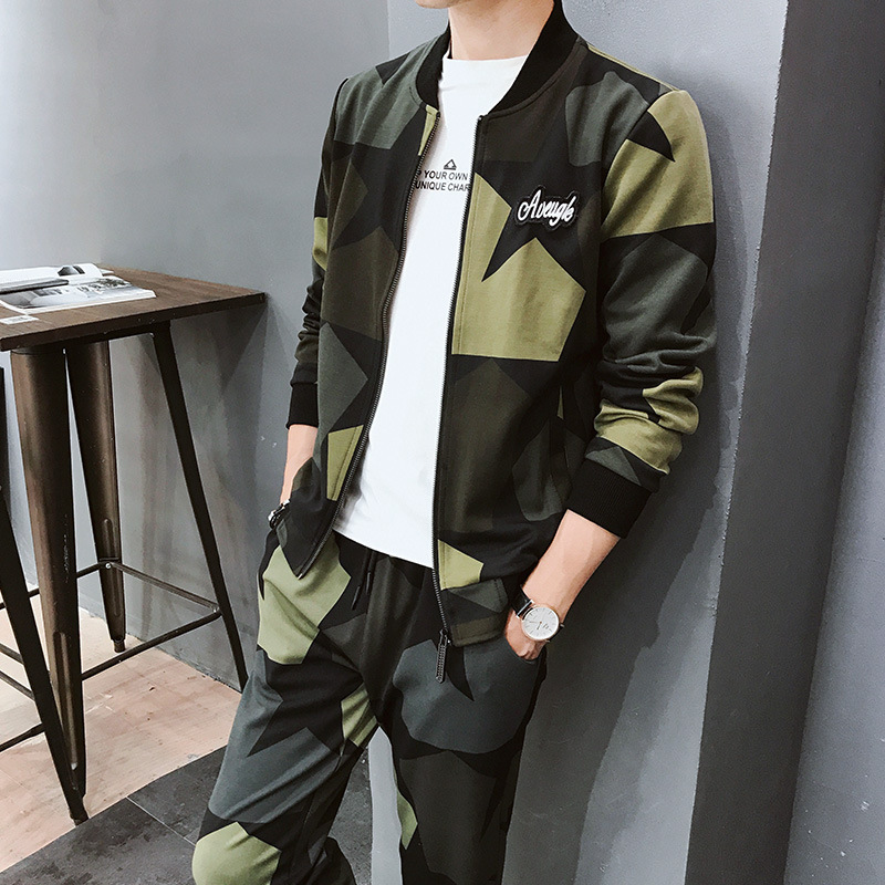Men's Spring And Autumn 2019 New Style Korean-style Trend Students Cardigan Coat Hoodie Suit Casual Sports Camouflage Two-Piece