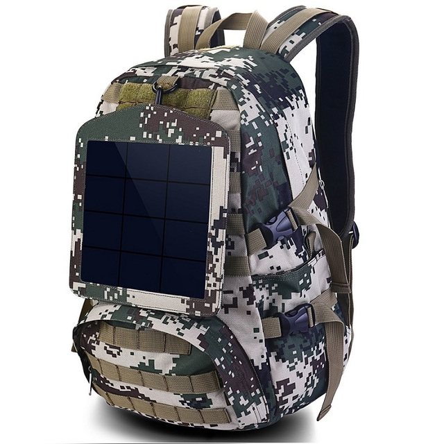 HOWO New Solar Backpacks for Men Large Travel Shoulder Bags Laptop Business Camouflage Sport Rucksack with Detachable Panel 1