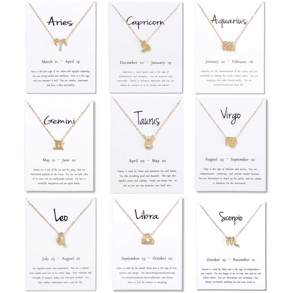 2019 New 12 Constellation Necklace Pisces Aquarius Aries Capricorn Choker  Birthday Gifts Pendant Necklace White Card Jewelry