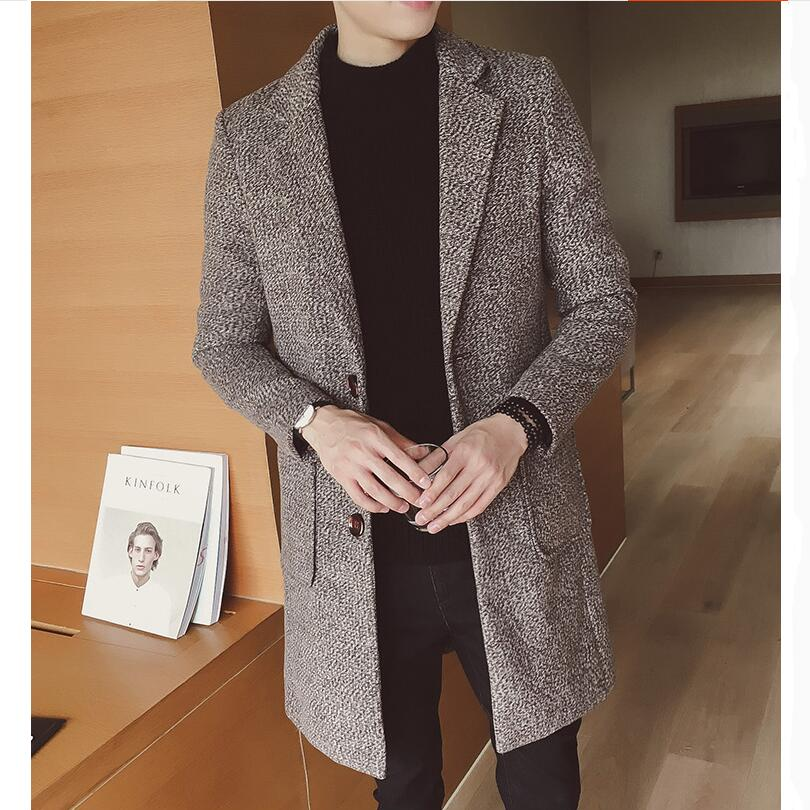 2019 Fast Shipping New Style Fashion Men Leisure Woolen Cloth Jackets Buckle Men Long Coat With Belt Single-breasted Trench Coat