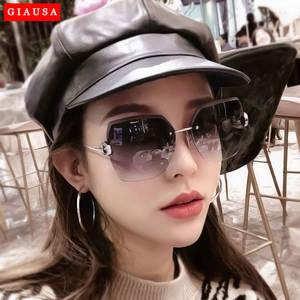 Zonnebril Dames New Rimless Diamond Cutting Lens Sunglasses For Women Brand Designer Shades Sun Glasses Oversize Women's Glasses