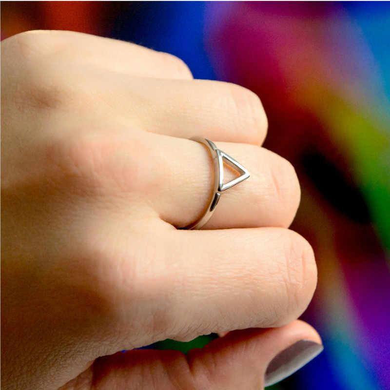 Minimalist Punk สแตนเลสสตีลแบนแหวนแหวนผู้หญิงเรขาคณิตแฟชั่นสีชมพูแหวนซ้อนกันได้สามเหลี่ยมแหวนเครื่องประดับ