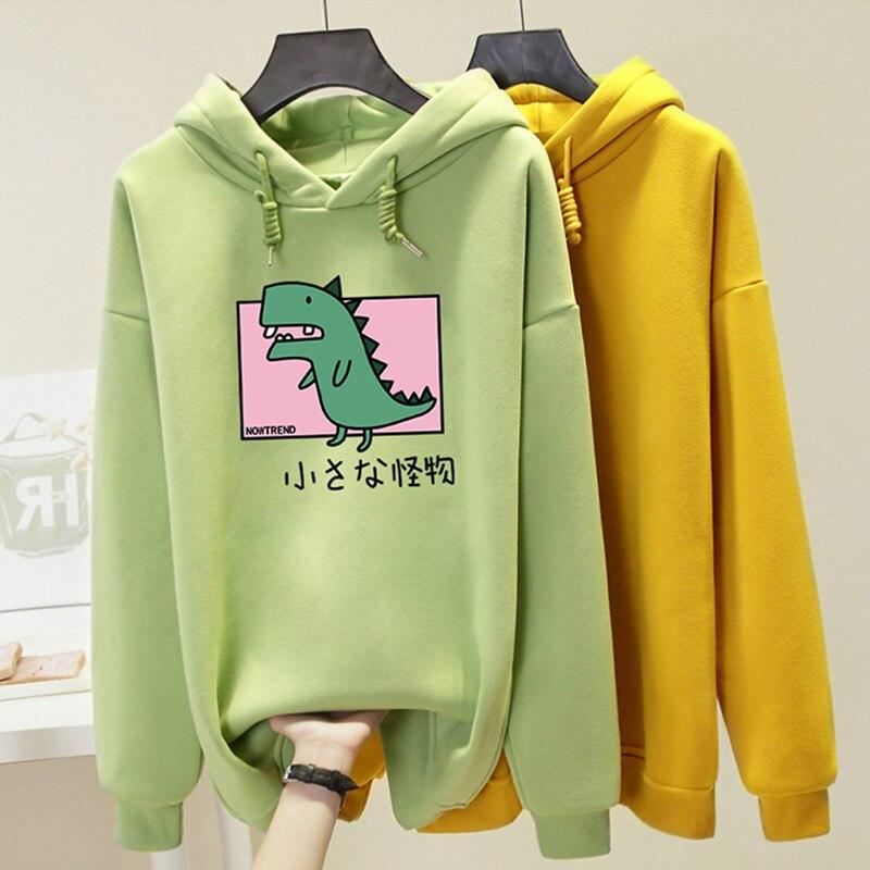 Plus Size Harajuku Hooded Sweatshirt Women Dinosaur Printed Hoodies Kawaii Top 2019 Autumn Winter Casual Hoody Pullover Female
