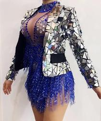 Women's Fashion Silver Mirrors Blazer Dj Female Singer Dance Jacket Costume Handmade Modern Customize Sexy Outift