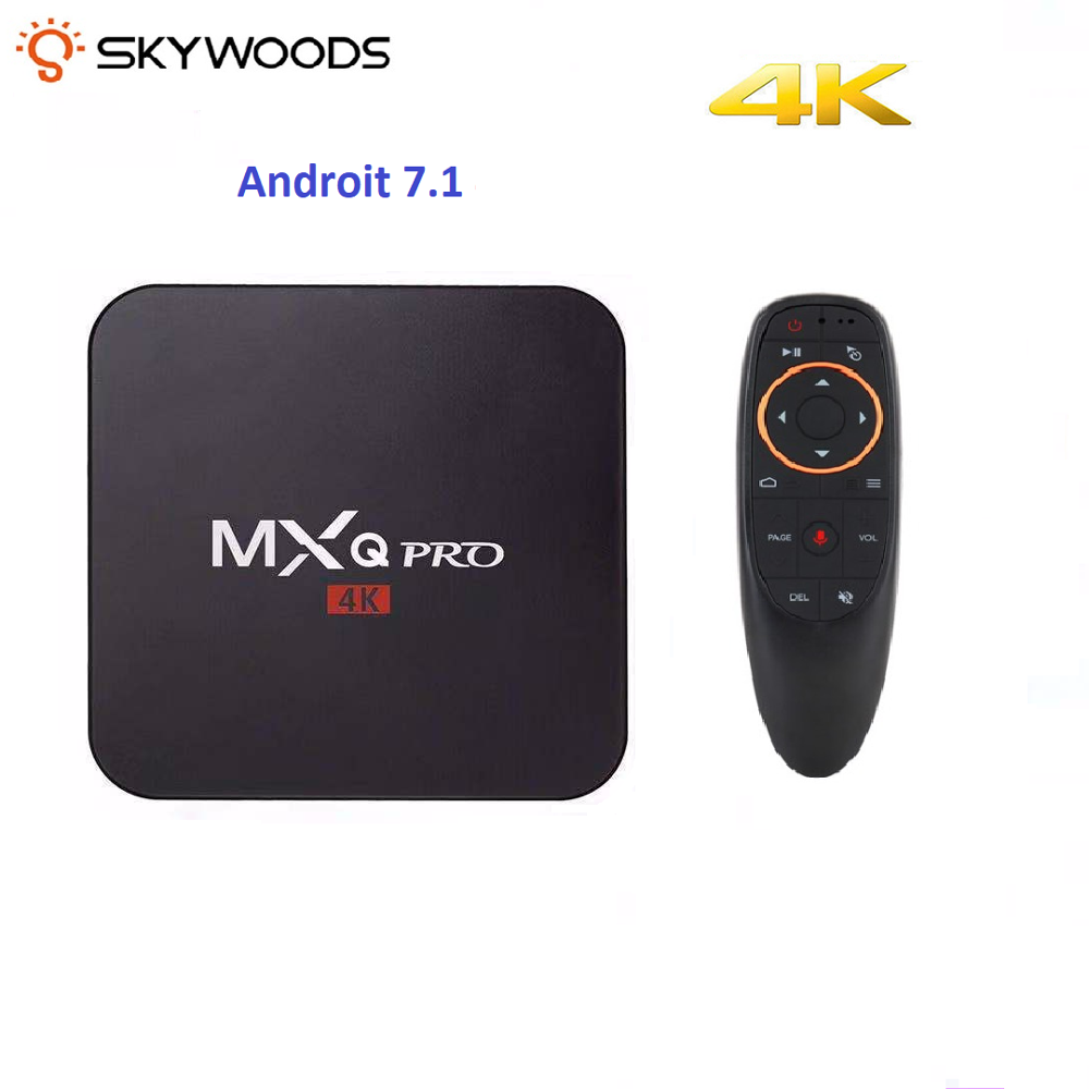 Skywoods MXQ PRO 4K Android tv box Android7.1 Smart tv di Google Assistente Vocale Netflix Media player 2.4gWiFi 2GB 16GB Set Top Box